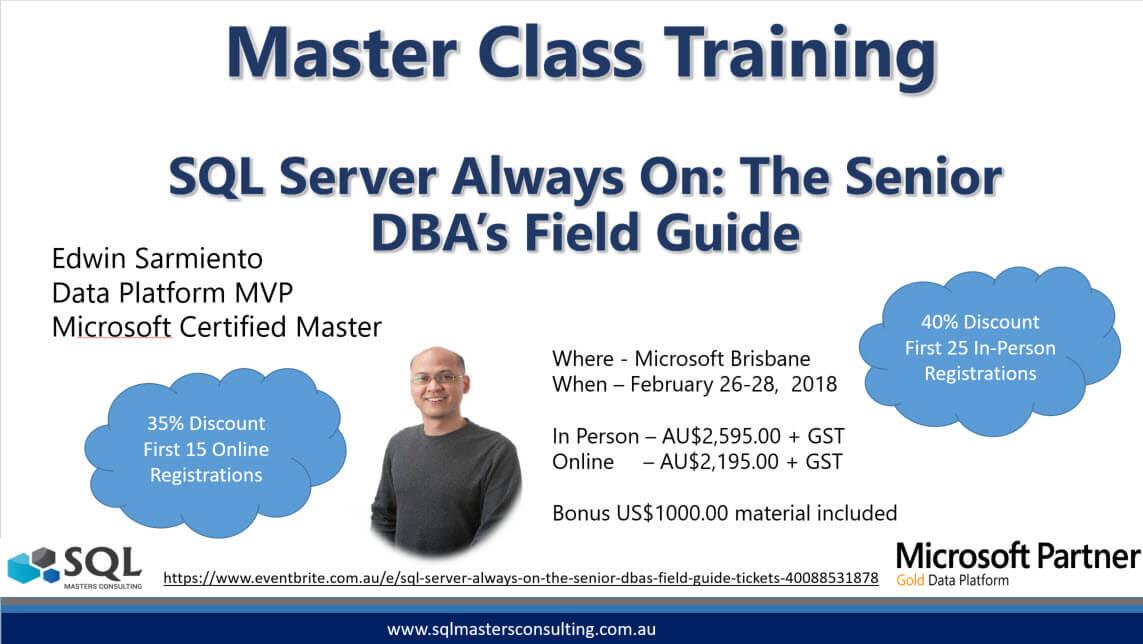 Smc Master Class Training 2018 Sql Masters Consulting